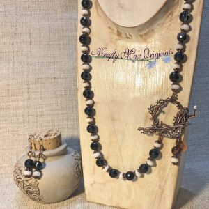 Black and White Copper Mermaid Clasp Necklace and Earrings Set
