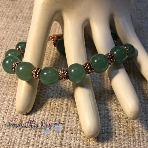 Basic Green Gemstone and Copper Bracelet