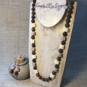 Ivory and Tan Elephants and Gemstone Necklace Set