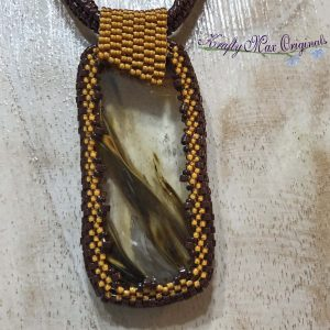 Quartz Lodolite Brown and Orange Beadwoven Wearable Art Necklace