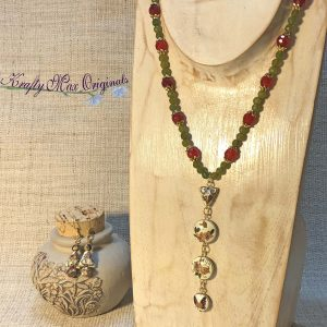 Red and Green Gemstones and Cloisonné Beads from Grandmothers Stash Necklace and Earrings Set