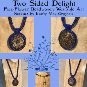 Two Sided Delight Face – Flower Beadwoven Wearable Art Necklace