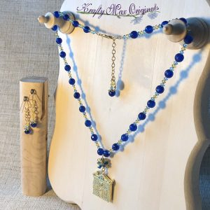 Blue and Yellow Swarovski Crystal and Gemstone House Locket Necklace Set