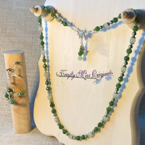 Green Green Green with Swarovski Crystals and Gemstones Necklace Set