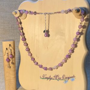 Lavender Gemstone and Silver Stars with Swarovski Crystals Necklace and Earrings Set