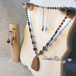 Picture Jasper and Copper with Swarovski Crystal Necklace Set