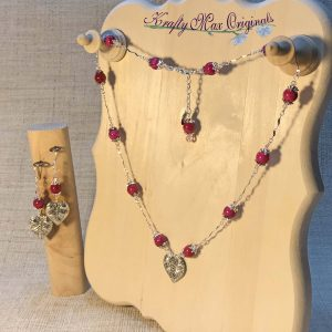 Pink Gemstone and Swarovski Crystal with Silver Leaf Necklace Set