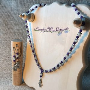 Purple and White Gemstone Necklace and Earrings Set with Birdhouses