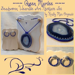 Queen Marilee Beadwoven Wearable Art (LARGE Blue Agate Slice) Necklace Set