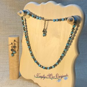 Teal Cathedral Beads and Teal Gemstone Necklace and Earrings Set