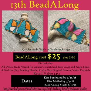Krafty Max Originals 13th BeadALong Butterfly Beadwoven Bracelet