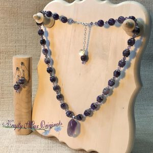 Amethyst and Purple Agate with Swarovski Crystals Necklace and Earrings Set