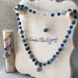 Blue and Green Gemstones with Silver Plated Fish Necklace Set