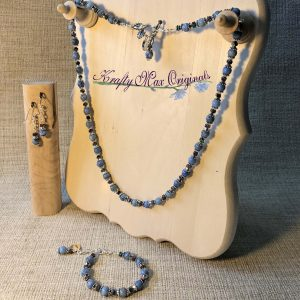 Blue Gemstones with Metalic Squares Necklace Bracelet and Earrings Set