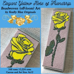Elegant Yellow Rose of Friendship Beadwoven (off-loom) Wall Art