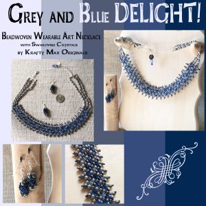 Grey and Blue RAW (Right Angle Weave) Beadwoven Necklace and Earrings Set with Swarovski Crystals