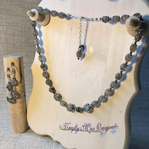 Grey Quartz and Swarovski Crystals Necklace and Earrings Set