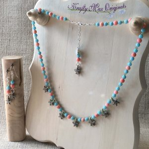 Peach and Green Gemstones with Green Swarovski Crystals and Silver Plated Starfish Necklace Set