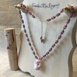 Pink Glass Pig with Swarovski Crystals and Gemstones Necklace Set