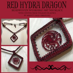 Red Hydra Dragon Beadwoven Wearable Art Necklace with Center from Wildlife Plastics