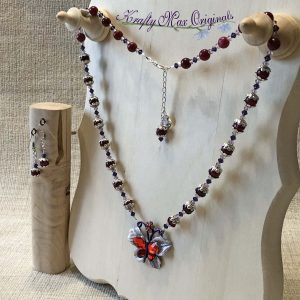 Red Maylay Jade and Purple Swarovski Crystals with Vintage Butterfly from Grandmothers Stash Necklace Set