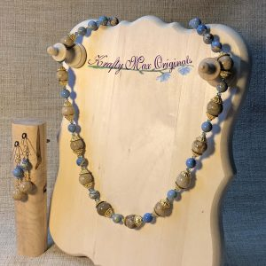 Bold Fossil Coral and Soft Blue Magnesite Beads with Swarovski Crystals and Gold Plated Findings Necklace Set