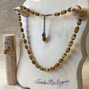 Yellow Green Gemstone and Antique Gold Necklace Set with Swarovski Crystals