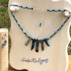 Blue Agate Gemstones and Swarovski Crystals Necklace Set
