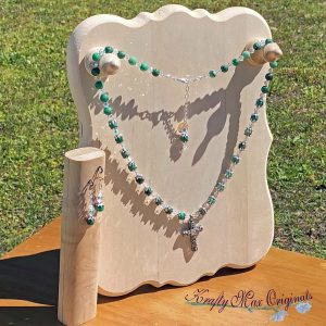 Green Crazy Lace Jasper and Swarovski Crystals Necklace Set