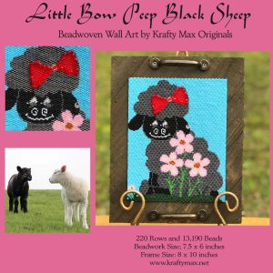 Little Bow Peep Black Sheep Beadwoven Wall Art by Krafty Max Originals