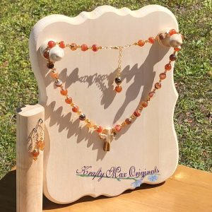 Orange Agate and Swarovski Crystals Necklace Set with Vintage Gemstone Cross from Grandmothers Stash
