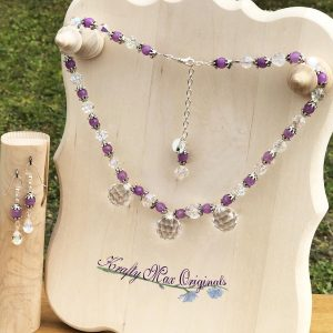 Purple and German Crystal Drops and Beads Necklace Set