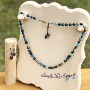 Vintage Glass and Blue Agate Necklace Set