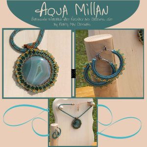 Aqua Millan Beadwoven Wearable Art Necklace and Earrings Set