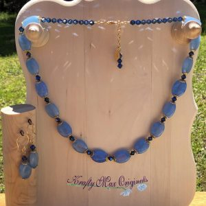 Blue Maylay Jade with Swarovski Crystals and Gold Plated Findings Necklace Set