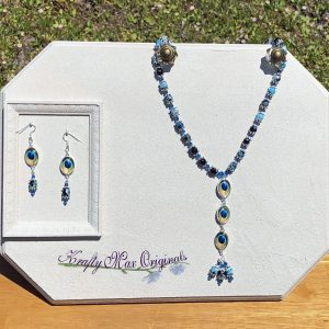 Swarovski Crystals and Gemstones with Peacock Feather Beads Necklace Set