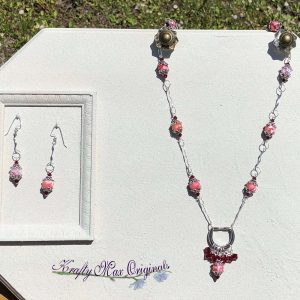 Pink Red Gemstone and Swarovski Crystal Dangle Necklace Set