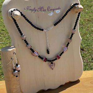 Pink and Black Glass Hearts Necklace Set