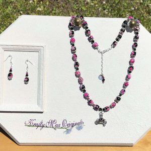 Pink and Black Swarovski Crystals and Gemstones Carriage Bead Cage Necklace Set