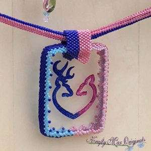 Pink and Blue Deer Beadwoven Wearable Art Necklace with Center from Wildlife Plastics