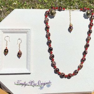 Red Grey Black and Red Velvet Swarovski Crystal Necklace and Earrings Set
