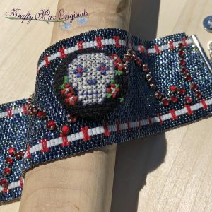 Sugar Skull Beadwoven Button Bracelet/Cuff with Button by Man Made By George