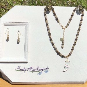 Brown and Tan Vintage Tooth Necklace Set from Grandmothers Stash