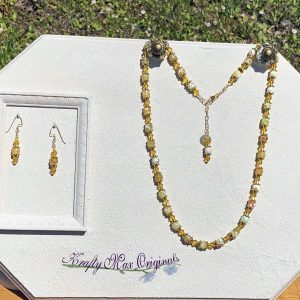 Yellow Gemstone and Swarovski Crystal Necklace Set