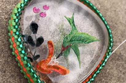 Green and Orange Hummingbird Necklace (working) and New Listing – Black and Pink Heart!