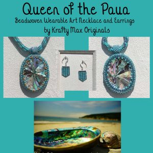 Queen of the Paua Beadwoven Wearable Art Necklace and Earrings Set