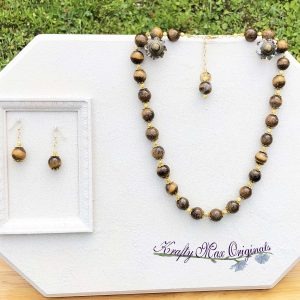 Bold Tigereye Necklace and Earrings Set