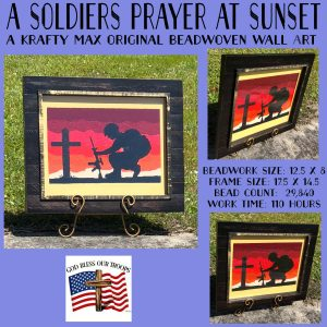 A Soldiers Prayer at Sunset – Beadwoven Wall Art
