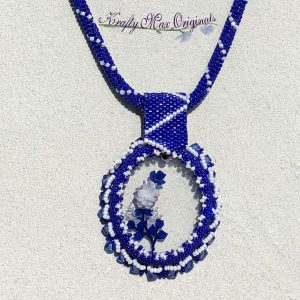 Blue and White Roses – Flowers Beadwoven Wearable Art Necklace with Center from Wildlife Plastics