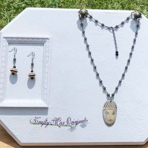 Vintage Face Necklace and Earrings Set